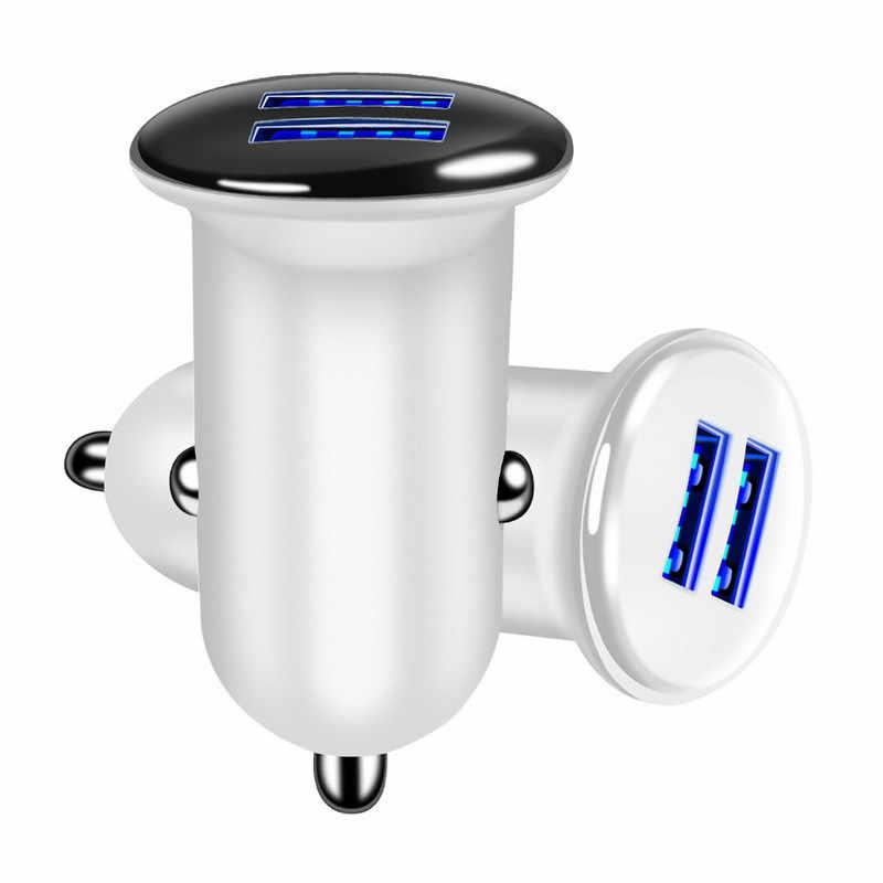 مصغرة المزدوج USB سيارة مهايئ شاحن 3.1A ماكس سيارة-شاحن الهاتف المحمول LED سيارة شاحن يو اس بي السيارات محول للشحن 2 منفذ ل الهاتف