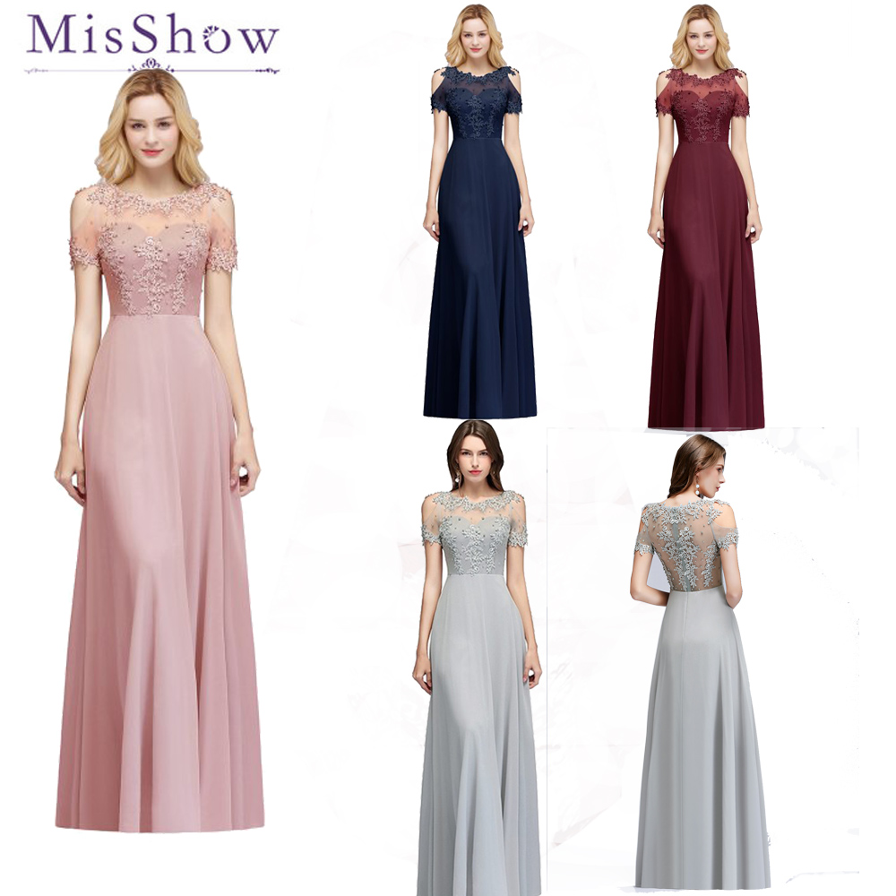 2019 Women Chiffon Long Bridesmaid Dresses Women Elegant Scoop Neck Bridal Formal Maxi Prom Gown Beaded Wedding Party Dresses