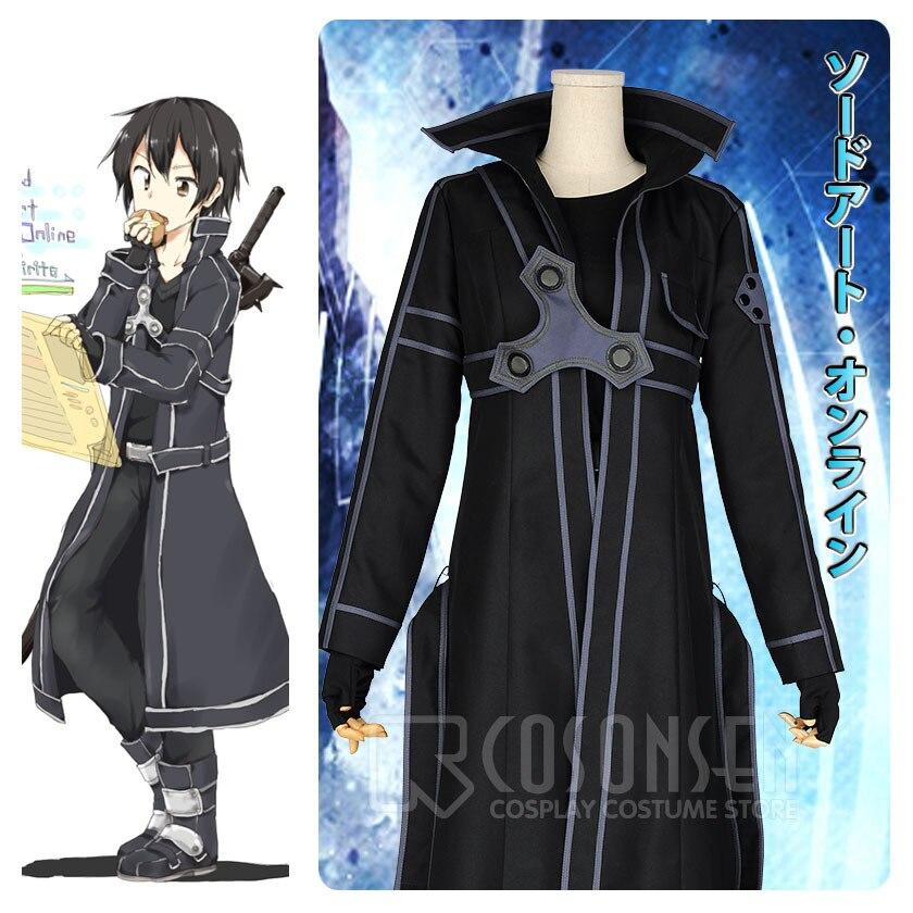 COSPLAYONSEN HOT Anime Sword Art Online Kirito Cosplay costume fancy Halloween costumes adult Kirito SAO Kirigaya Kazuto Suit