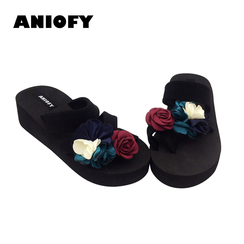 1a639f171a90 Aniofy Women s Fresh Flower Wedge slipper double upper strap Female sweet  Floral platform Slippers Ladies  casual Beach Shoe
