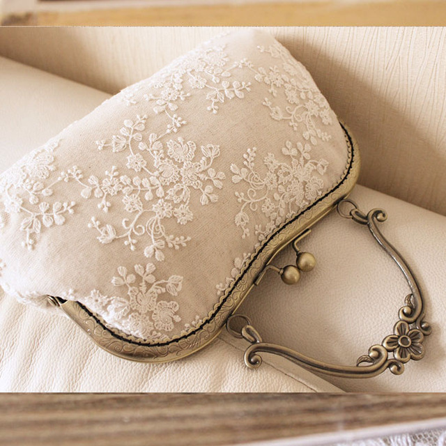 Handmade lace tote bag bride mouth of gold handle bag vintage cheongsam bag women handbag gift metal frame handbag needlework