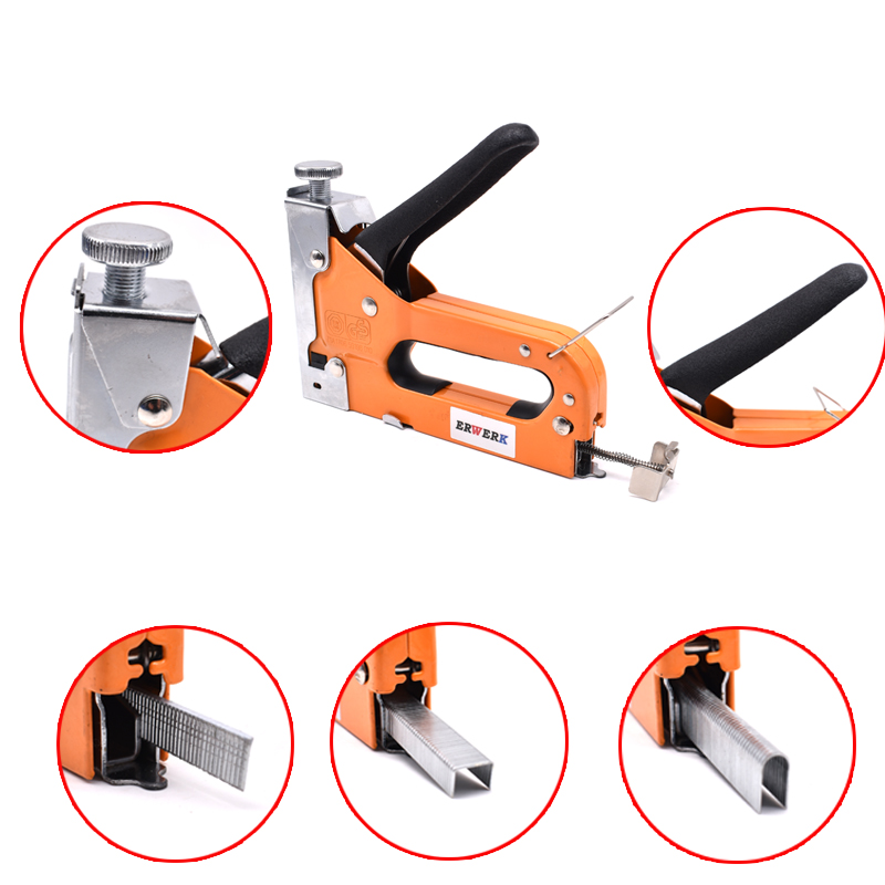 Image 5 - 3 In 1 Manual Nail Stapler Gun With 600pcs Nails For Furniture Upholstery Furniture Staple Gun Household Hand Tool-in Nail Guns from Tools on
