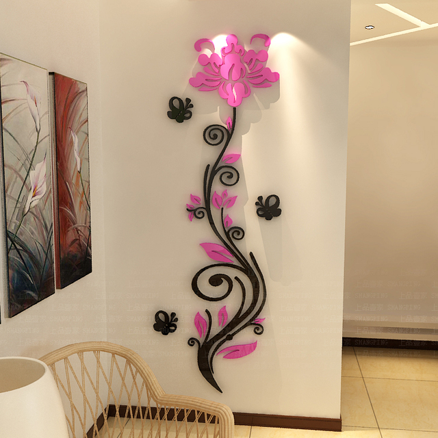 Rose flower vine wall stickers 3d crystal acrylic three dimensional wall stickers entranceway tv background