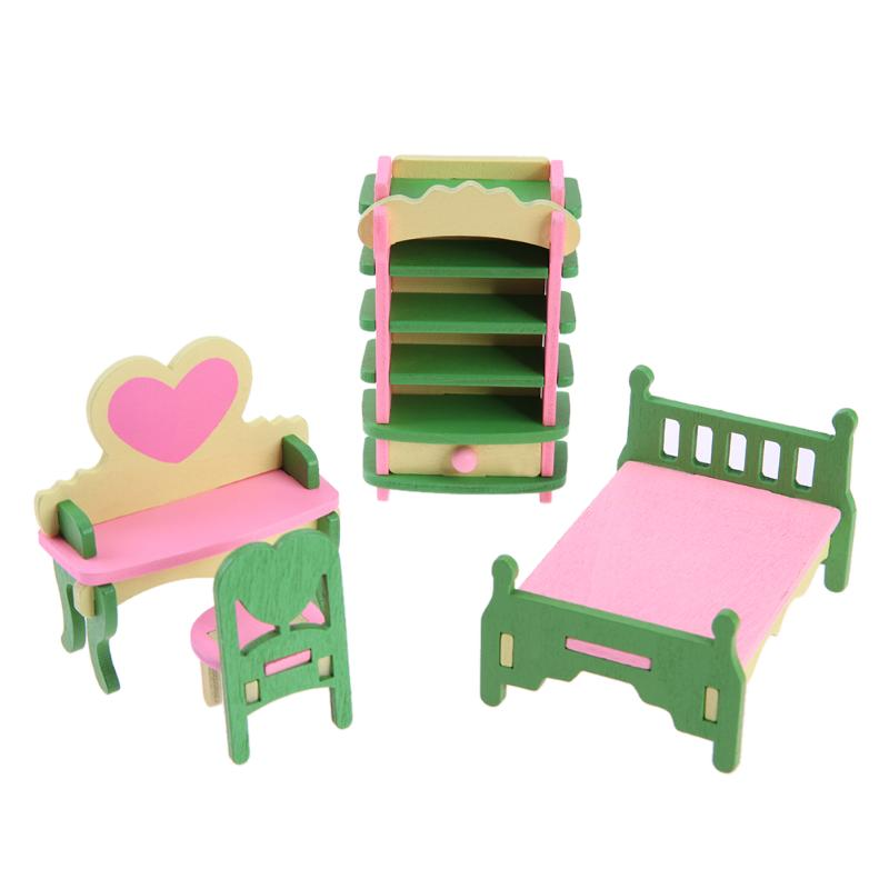 1 set/4pcs Baby Wooden Dollhouse Furniture Dolls House Miniature Child Play Toys Gifts