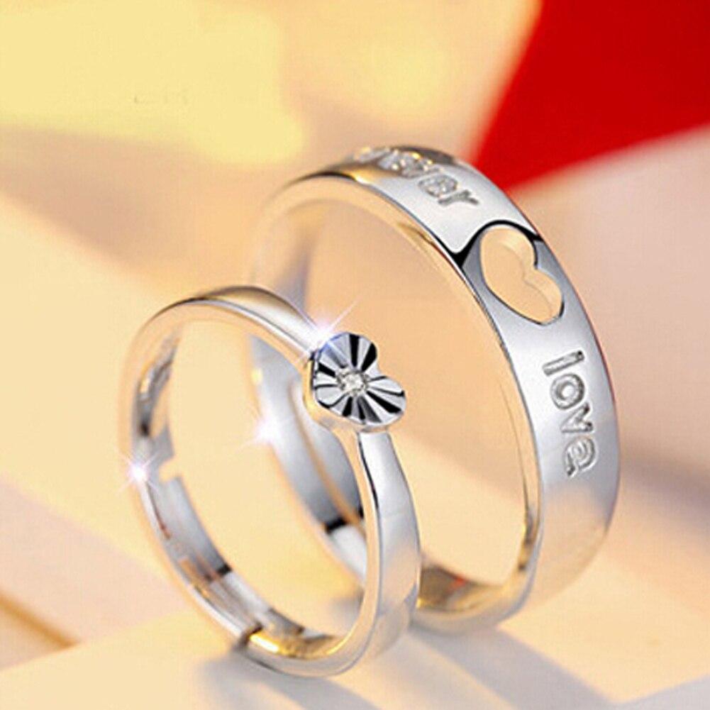 1 Paar = 2 Stücke Mode-liebhaber Herz Paar Ringe Für Frauen Männer Hochzeit Engagement Silber Überzogene Schmucksachen Freies Verschiffen