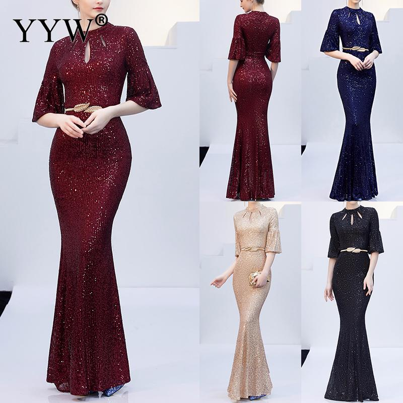 Red Sequined Luxury Evening Dress Women Half Sleeve Hollow Mermaid Long Party Dress Bodycon Elegant Prom Gown Sexy Club Dresses