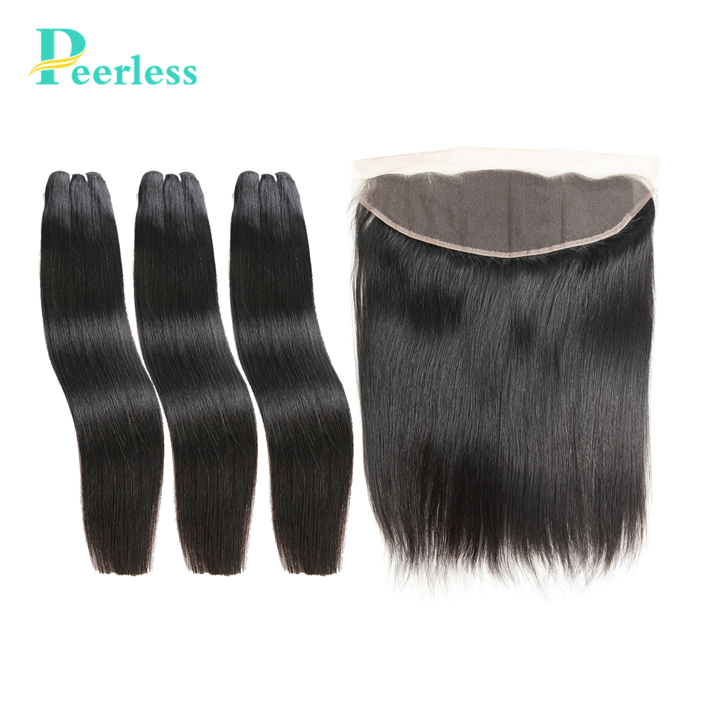 PEERLESS Hair Peruvian Virgin Hair Straight 3 Bundles With Lace Frontal 13*4″ Ear to Ear 100% Unprocessed Human Hair Extensions
