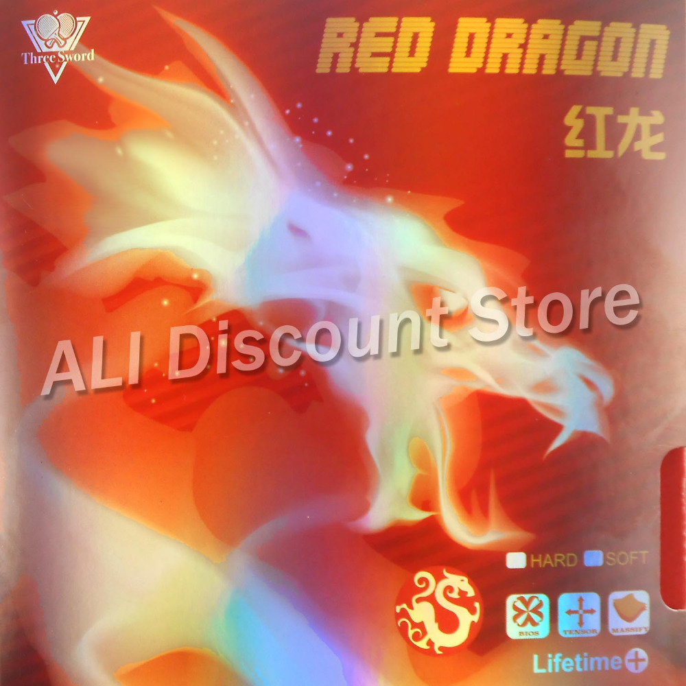 Three Sword Red Dragon (NON-TACKY) Pips-in Table Tennis Rubber with Black Sponge mgs01 sword for transformer colour red