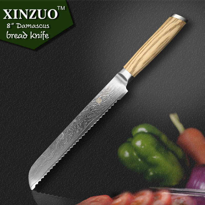 XINZUO 8 inches bread font b knife b font 73 layers Japanese Damascus kitchen font b