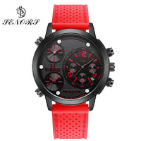 SENORS Big Dial Mens Quartz Sports Watches Waterproof Multiple Time Zone Canvas Silicone Strap Male Clocks