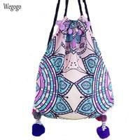 Women Backpack Bohemian Holiday Beach Bag Original Design Pompon Travel Backpack Shoulder Totem Summer Rucksack