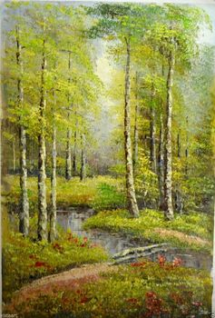 """Oil Painting on Stretched Canvas """"Exuberant Nature Scenery"""" 24x36"""""""