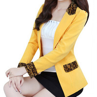 Fashion New Top Quality Coat Sexy Lace Blazer Lady Suit Outerwear 2016 Women OL Formal Work Suit Slim Jacket