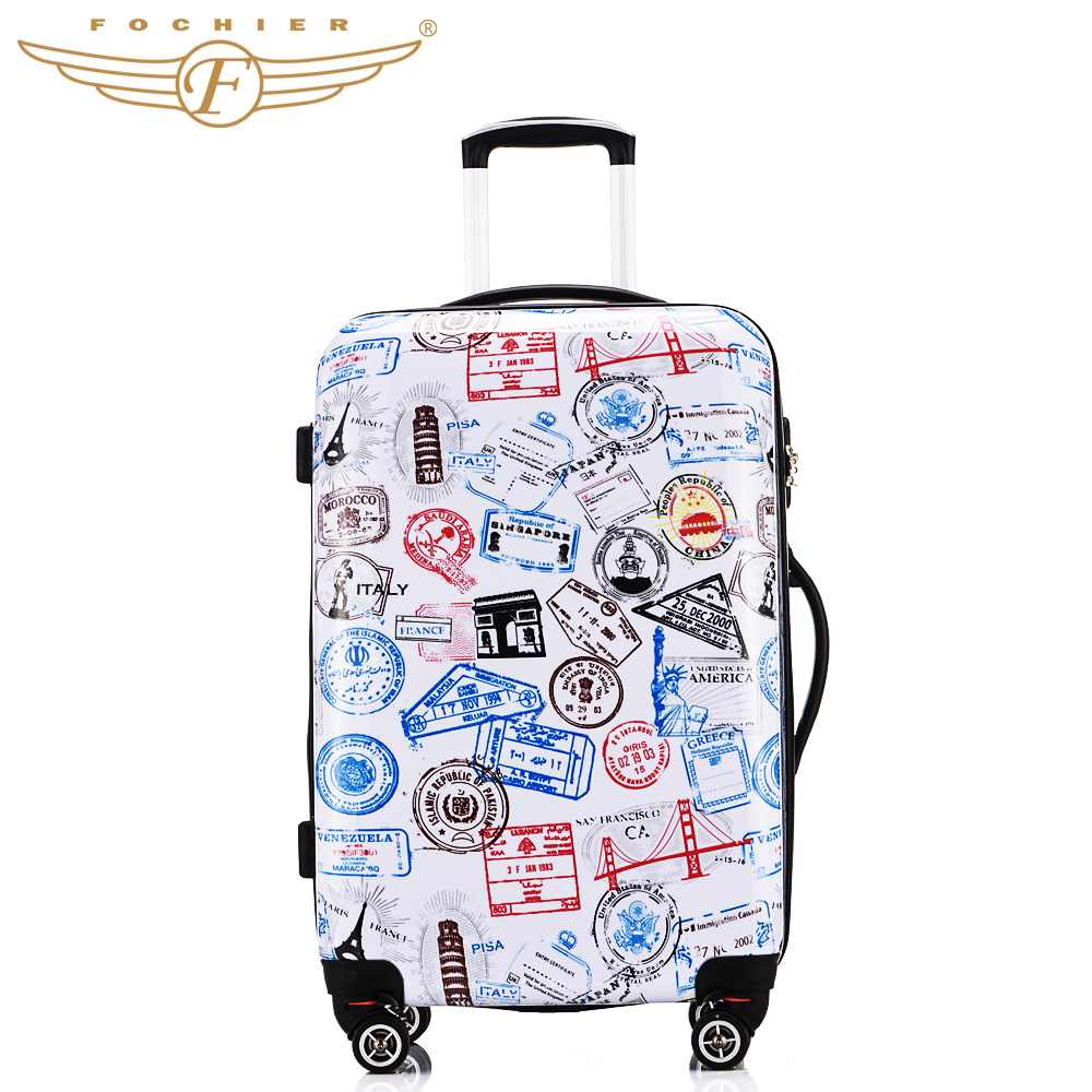 All seasons Stamp Printing Durable Hard Shell Trolley Luggage ABS PC 20 24 28 Inches Cabin