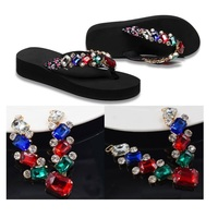 NEW Women shoes Beach Flip Flops Sandals rhinestones charm flowers decoration Flip flops 30pairs/lot DHL EMS free shipping