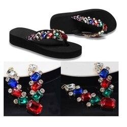 Nuevos zapatos de mujer playa chanclas sandalias diamantes de imitación encanto flores decoración chanclas 30 par/lote DHL EMS envío gratis