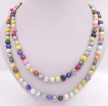 Ожерелье из натурального барочного жемчуга 8 9 мм много цветов