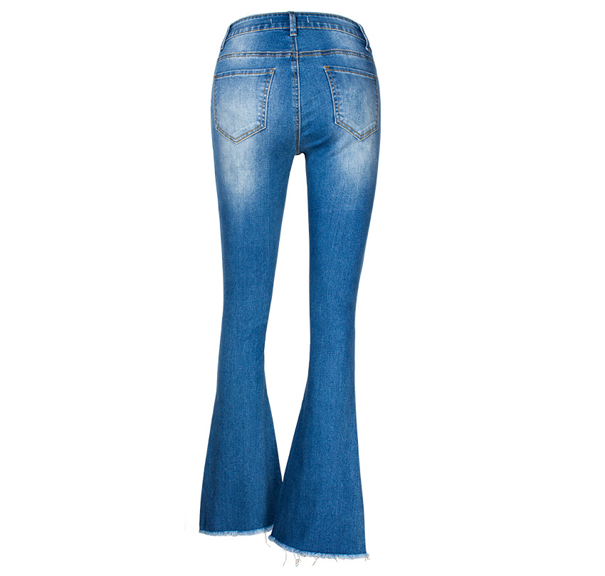 Women\`s dress of Europe and America 2018 new wide leg trousers jeans denim flared trousers women\`s worn-out edge trousers (17)