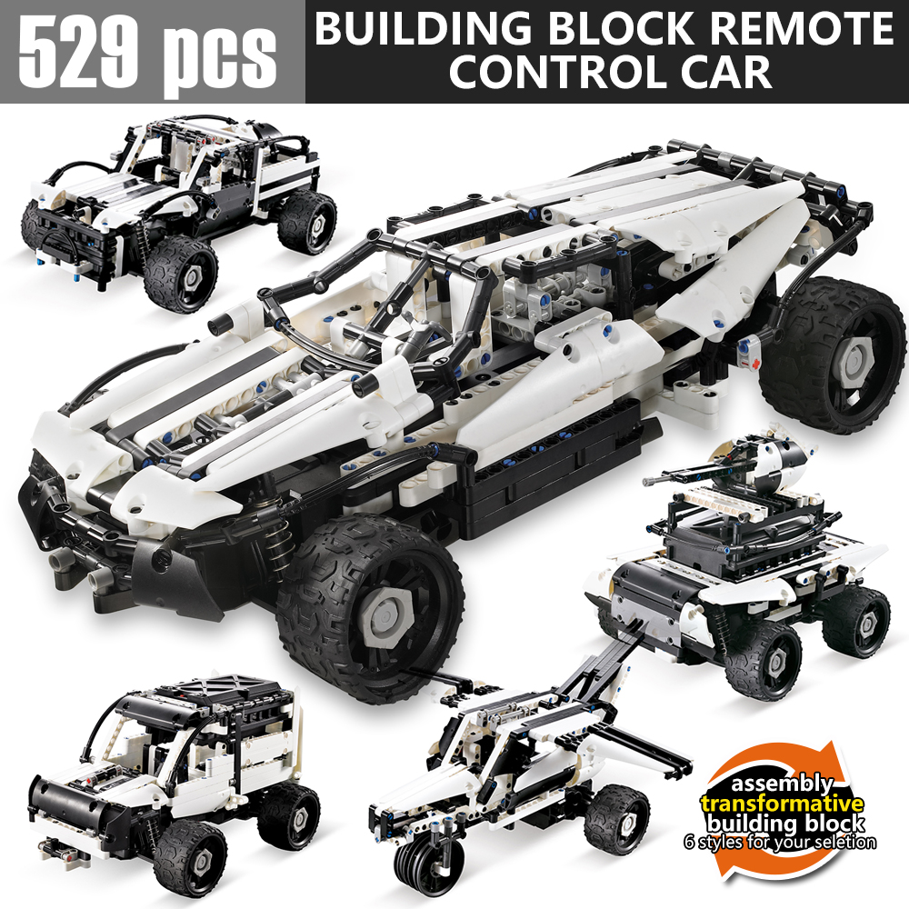 529Pcs DIY 4In1 Assemble Building block RC cars Educational toys Technic Bricks Remote Control Toys For Children Gifts