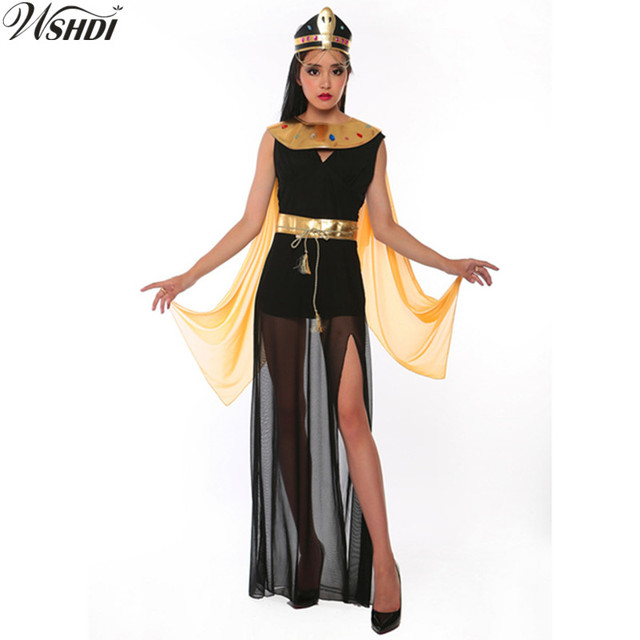 d267557977d0e US $29.9 |Deluxe Egyptian Queen of the Pyramids Cleopatra Dress Adult  Women's Egyptian Goddess Costume Halloween Cosplay Party Dress-in Holidays  ...