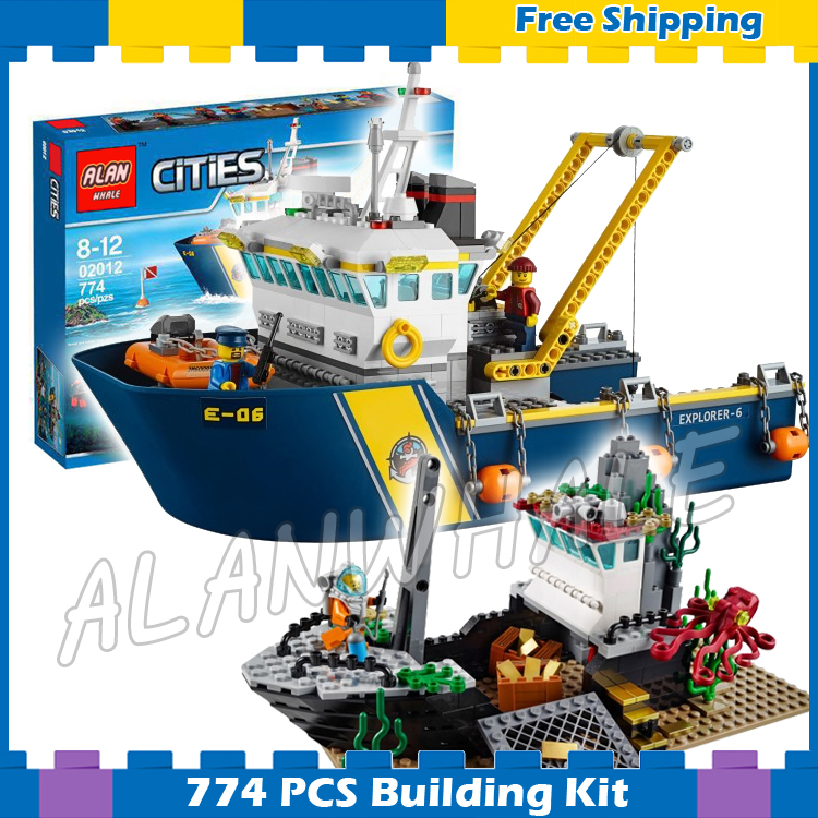 774pcs City Deep Sea Ocean Explorers Ship Exploration Vessel 02012 Model Building Block Gifts sets Children Compatible With Lego in stock lepin 02012 774pcs city series deepwater exploration vessel children educational building blocks bricks toys model gift