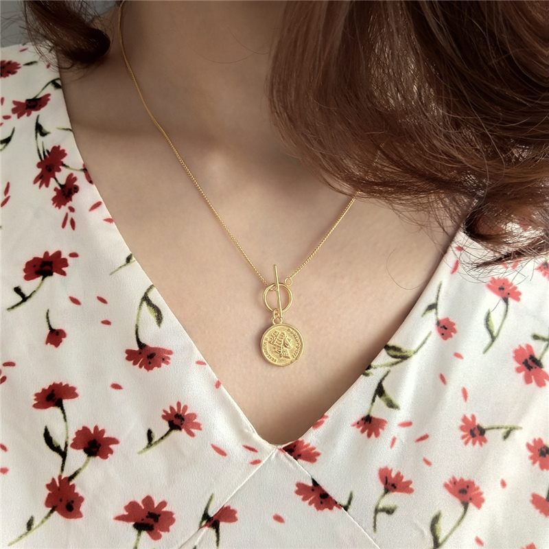 925 Sterling Silver Original Figure Lady Queen Coin Pendant Necklace Gold Fashion Chokers Necklace For Women 2018 Fine Jewelry
