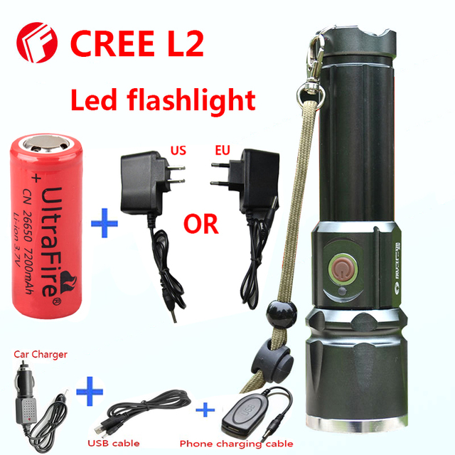 Flashlight LED CREE XM-L2 light 3800 lumens 26650 battery Outdoor Camping Telescopic Zoom Self defense Powerful led flashlight