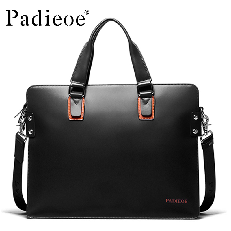 Padieoe Hot Sale Deluxe Genuine Cow Leather Handbag Fashion Business Men Shoulder Bags Luxury Brand Durable Male Handbags набор детской посуды маша и медведь лето 3 предмета