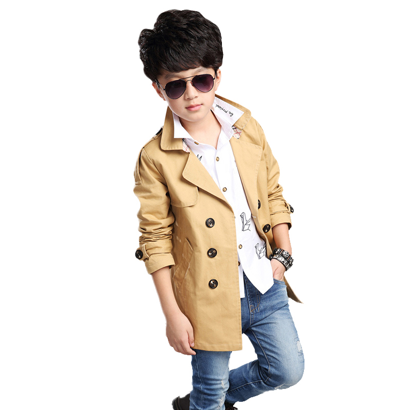 ФОТО Fashion  Autumn Jacket Boy Turn-down Collar Windbreaker Jackets For Men Long Sleeve Ropa Ninos Solid Kids Costume For Boys