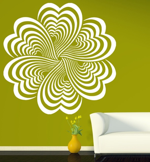 Drawing Elements Flower Optical Illusion Vinyl Wall Sticker home ...