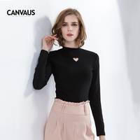 Elegant Women T Shirt Half Turtleneck Long Sleeve Slim Fit Heart Hollow Out T Shirt Casual Office Lady Plain Black White Top Tee