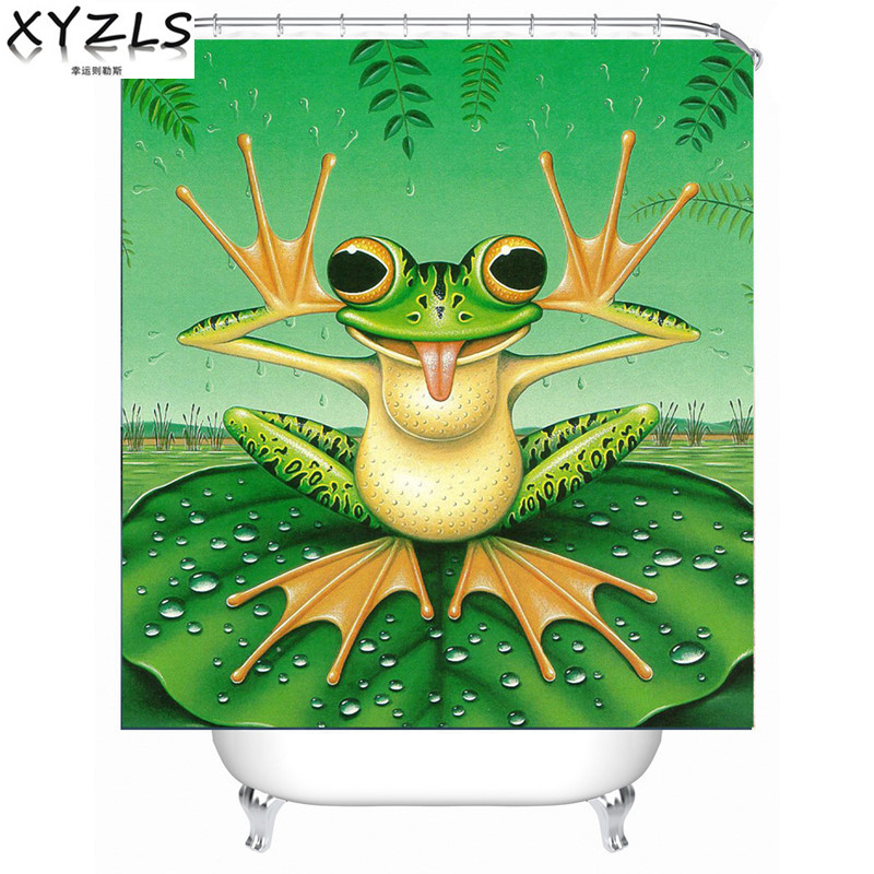XYZLS New Arrival Funny Frog 3D DIY Print Waterproof Shower Curtain Home Bathroom Polyester Curtains Customized
