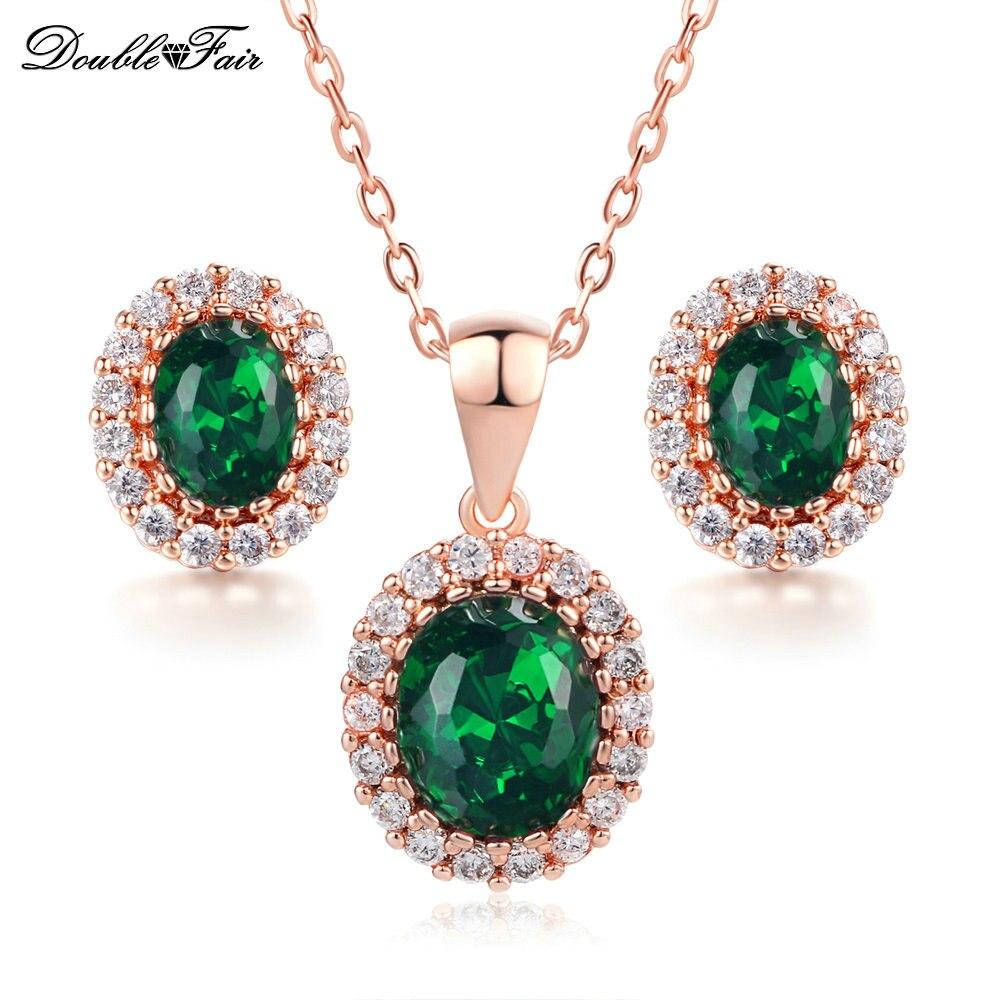 green crystal necklace pendant earrings rose gold color. Black Bedroom Furniture Sets. Home Design Ideas
