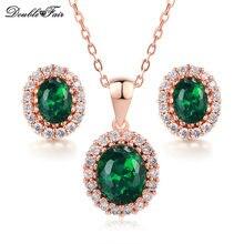 Collar Colgante de Cristal y Pendientes de Oro Rosa de Color verde Cubic Zirconia Joyería Nupcial de La Boda Africana Set DFS106