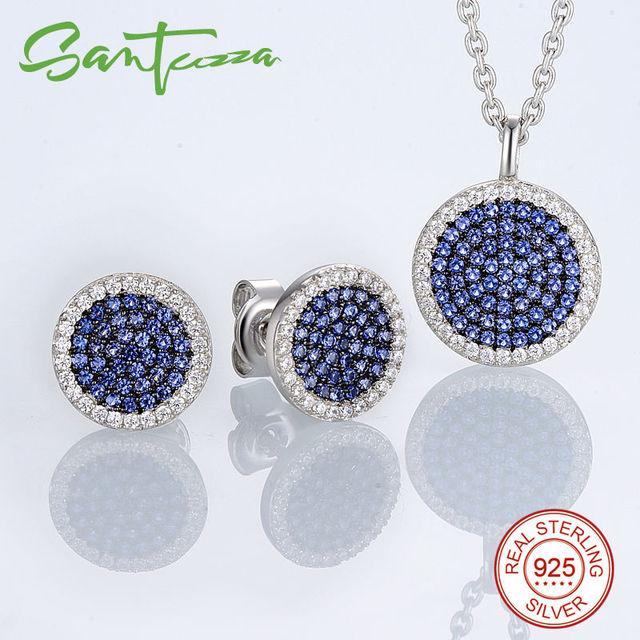 Conjuntos de jóias para As Mulheres Pequeno Azul Rodada CZ Set Jóias Brincos Colar de Pingente de Diamante 925 Prata Esterlina Jóias Conjunto