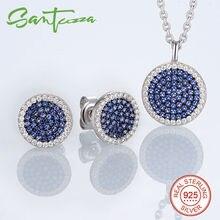 Sistemas de la joyería para Las Mujeres Pequeño Azul Redondo CZ Diamond Collar de joyas Aretes Joyas Pendiente 925 Sterling Silver Jewelry Set