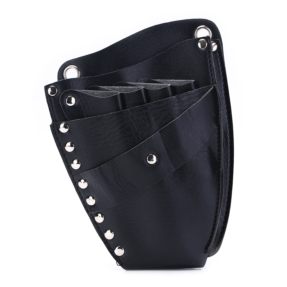 1Pc PU Leather Hairdressing Holster Pouch Holder Rivet Clips Bag With Waist Shoulder Belt Barber Hair Scissor Bag Hair Tool
