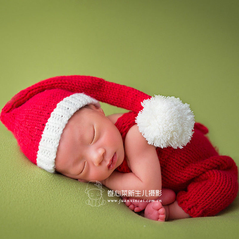 Infant newborn photography props christmas cute santa baby clothing hat crochet outfit 2017 new baby accessories knitted costume cute dinosaur baby boys crochet photo props animal costume knitted infant baby coming home outfits newborn photography props