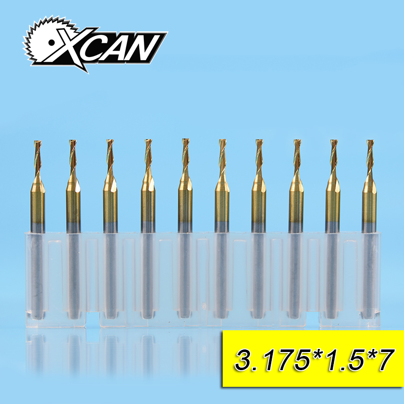 XCAN 10 Pieces Diameter 1.5mm Mini Carbide Flat End Mills with 2 Flute shank 1/8 milling cutter for Milling Metal Wood PlasticXCAN 10 Pieces Diameter 1.5mm Mini Carbide Flat End Mills with 2 Flute shank 1/8 milling cutter for Milling Metal Wood Plastic