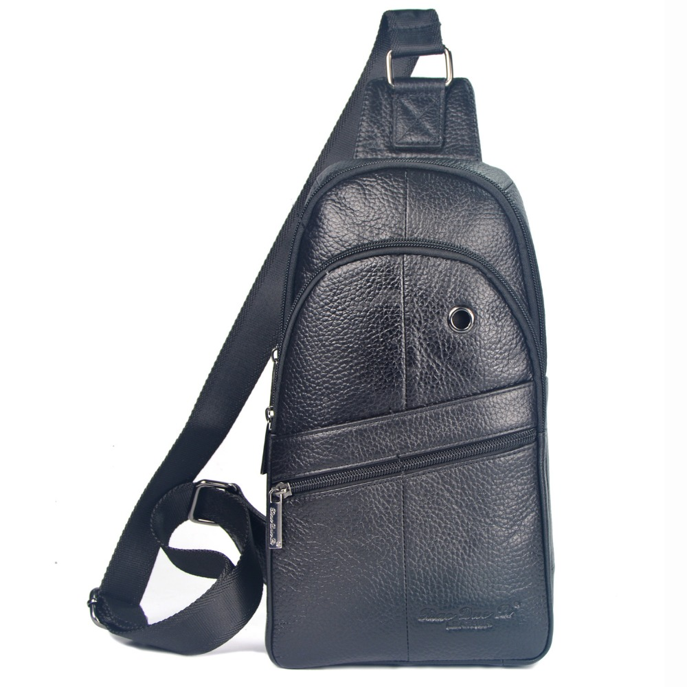 Hot sales 100% guarantee genuine leather men chest packs with high quality travel men messenger bags casual male shoulder bags