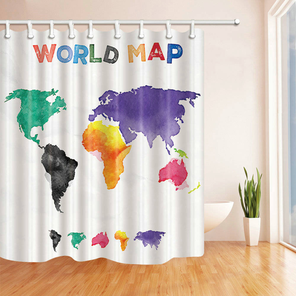 Simple World Map Green Black Orange Purple Pink Shower Curtain  Multifunctional 70X70 Inch Waterproof Antibacterial Polyester In Shower  Curtains From Home ...