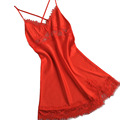 sexy female lace sleepwear dress home clothing nightwear red silk nightgown suspender ladies pijamas satin backless M L XL XXL