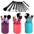 ShippingFashion libre 12 Unids Pro Suavizar Maquillaje Herramientas Kit del Sistema de Cepillo con el Cepillo Olla Viajes Protector