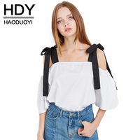 HDY Haoduoyi 2017 Fashion Bow Shirt Women Casual Solid White Off Shoulder Lady Tops Summer Slash