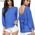 2017 HOT Sale Bowknot women's casual tops Backless blusas femininas Fashion chiffion shirt women Three quarter camisas S049