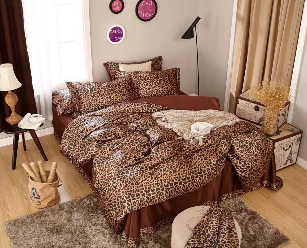 Satén de seda ropa de cama edredón cubre colchas twin full queen king size dormitorio decoración brown sexy piel de leopardo impresa