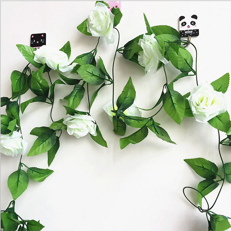 250CM/lot Silk Roses Artificial Flowers With Green Leaves For Home Wedding Decoration 7