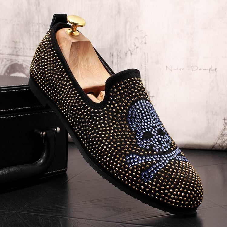 38 Designer Tamanho 43 Charme Moda Da Deslizamento Luxo vermelho Loafer Ouro Casuais Tendência Strass Mens Errfc Homem Britânico Azul Sapatos Em De Crânio qwUFnHR