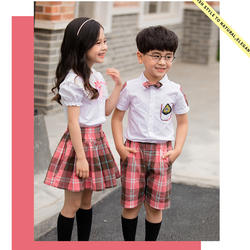 Детская модная школьная форма в корейском японском стиле; одежда для занятий спортом; белый топ; розовая юбка в клетку; брюки; сценические
