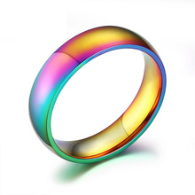 Gay Rainbow Titanium Stainless Steel Rings For Wedding